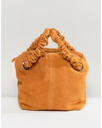 ASOS DESIGN Suede Tote Bag With Ruched Handle