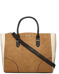Tan Faux Suede Oversized Tote Bag
