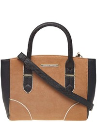 Tan Mix Mini Curve Tote Bag