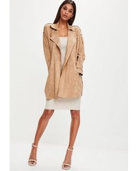 Missguided Brown Faux Suede Belted Trench Coat