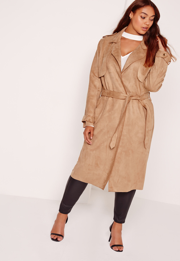 12470ecdc59 ... Tan Suede Trenchcoats Missguided Plus Size Raw Seam Faux Suede Trench  Coat Camel