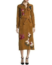 Suede trench coat wleather patchwork cognac medium 874377