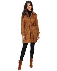 Sueded rain trench with stitching detail single breasted belted coat medium 874378