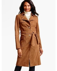 Talbots suede trench coat medium 874382