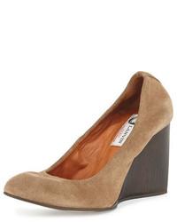 Velvet suede ballerina wedge pump camel medium 649236