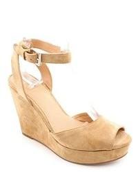 Aqua Ava Beige Peep Toe Suede Wedge Sandals Shoes Newdisplay