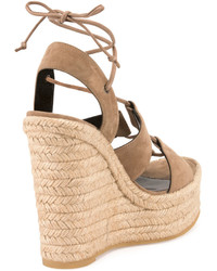 2d6f06e6508e ... Saint Laurent Suede 95mm Espadrille Wedge Sandal Taupe