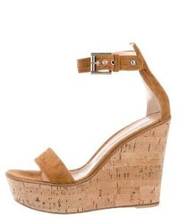 Gianvito Rossi Suede Ankle Strap Wedges