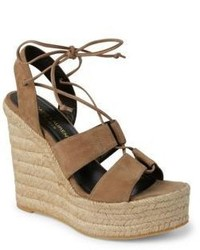 Saint Laurent Suede Lace Up Espadrille Platform Wedge Sandals