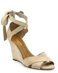 Aquazzura Tarzan Crisscross Suede Wedge Sandals