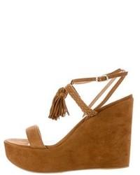 Stuart Weitzman Tassel Platform Wedge Sandals W Tags