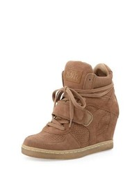 Tan Suede Wedge Sneakers