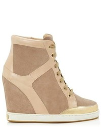 Jimmy Choo Panama Suede And Patent Wedge Sneakers
