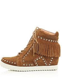 River Island Tan Suede Fringed High Top Wedge Sneakers