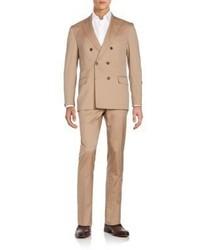 Brunello Cucinelli Double Breasted Herringbone Suit