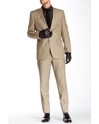 Ben Sherman Kings Fit Tan Solid Peak Lapel Two Button Wool Suit