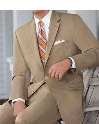 Natural Stretch 2 Button Poplin Plain Front Suit