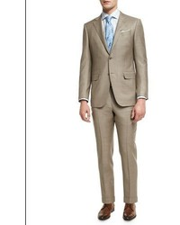 Sharkskin two piece suit tan medium 1161137