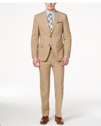 Tommy Hilfiger Slim Fit Tan Sharkskin Suit