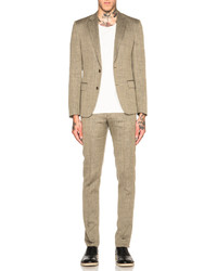 Maison Margiela Slim Fit Wool Linen Herringbone Suit
