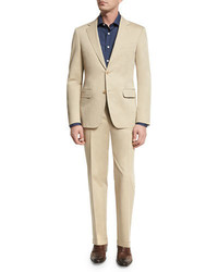 Canali Solid Stretch Cotton Two Piece Suit Khaki