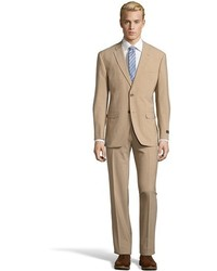 Tommy Hilfiger Tan Stretch Wool Blend 2 Button Vasser Suit With Flat Front Pants