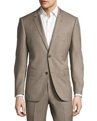 Neiman Marcus Two Button Sharkskin Two Piece Suit Tan