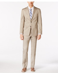 Calvin Klein X Fit Solid Tan Slim Fit Suit