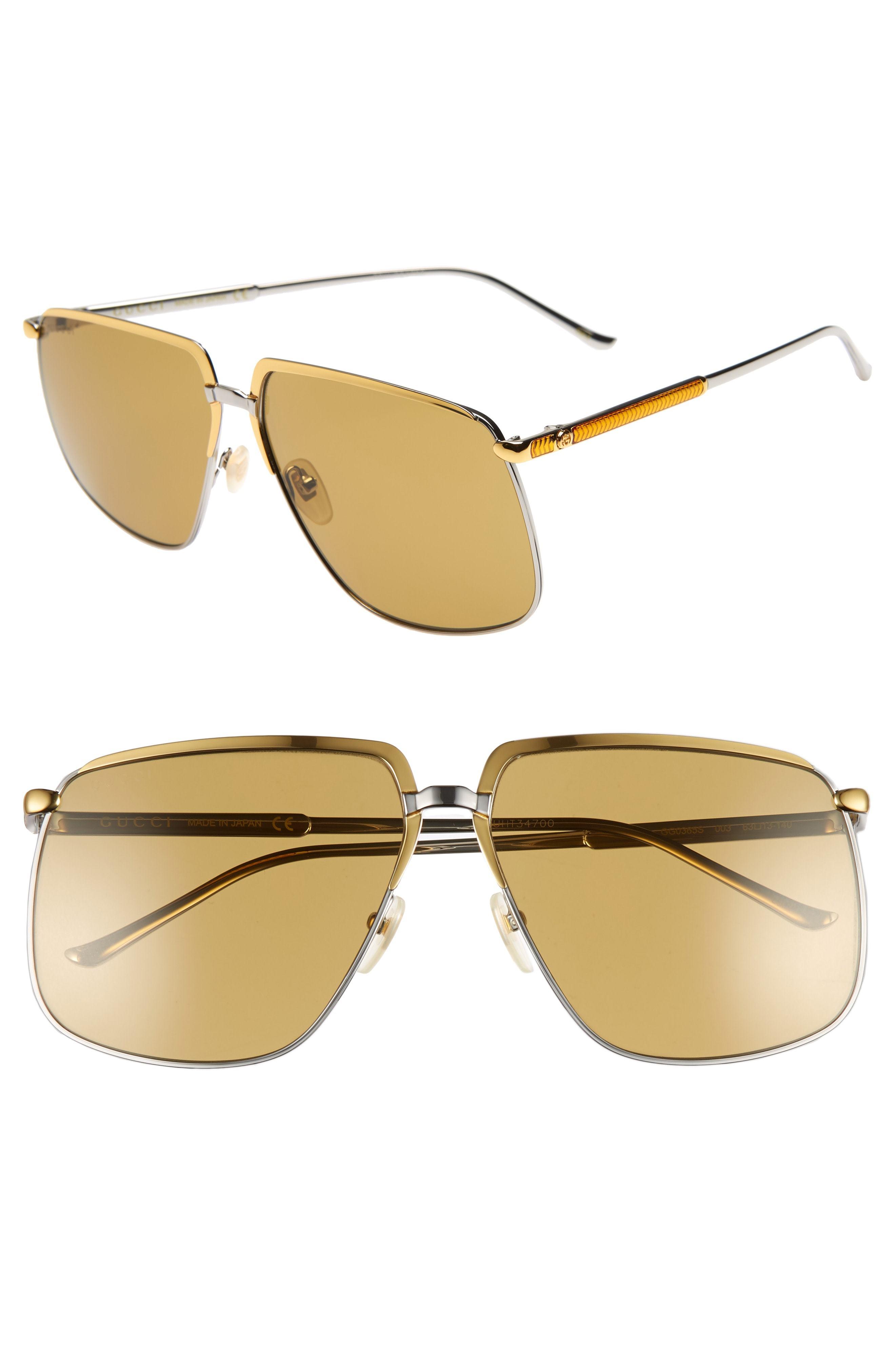 0324ad978fb ... Gucci 63mm Square Aviator Sunglasses