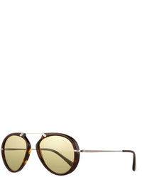 Tom Ford Aaron Trimmed Havana Aviator Sunglasses Brown