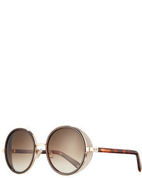 Jimmy Choo Andie Round Glitter Trim Sunglasses