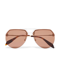 Alexander McQueen Aviator Style Acetate And Gold Tone Sunglasses