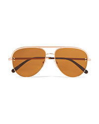 Stella McCartney Aviator Style Rose Gold Tone And Acetate Sunglasses