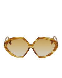 Victoria Beckham Brown Oversized Round Sunglasses