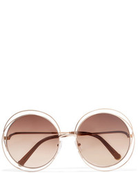 Chloé Carlina Round Frame Rose Gold Tone Sunglasses Brown