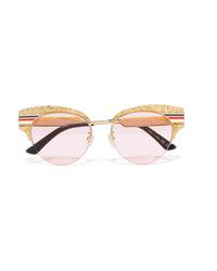 Gucci Cat Eye Glittered Acetate And Gold Tone Sunglasses