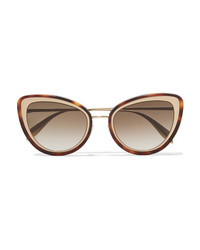 Alexander McQueen Cat Eye Tortoiseshell Acetate And Gold Tone Sunglasses