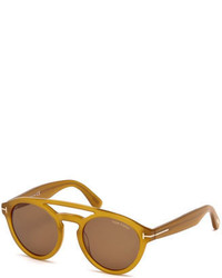 Tom Ford Clint Round Acetate Sunglasses Amber