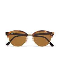 Ray-Ban Clubround Acetate And Gold Tone Sunglasses