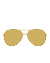 Bottega Veneta Gold Aviator Sunglasses