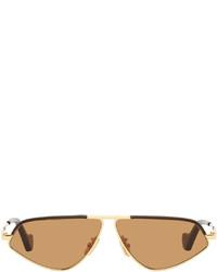 Loewe Gold Brown Geometric Sunglasses