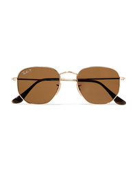 Ray-Ban Hexagon Frame Polarized Gold Tone Sunglasses