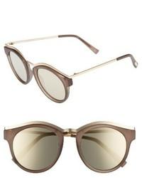 Le Specs Hypnotize 50mm Round Sunglasses Black Rubber