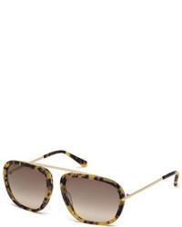 Tom Ford Johnson Squared Aviator Sunglasses Matte Tortoise