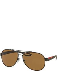 Prada Metal Aviator Sunglasses Brown