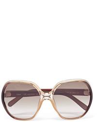 Chloé Misha Oversized Square Frame Acetate Sunglasses Brown