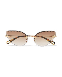 Chloé Rosie Cat Eye Gold Tone And Tortoiseshell Acetate Sunglasses
