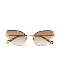 Chloé Rosie Cat Eye Gold Tone And Tortoiseshell Acetate Sunglasses