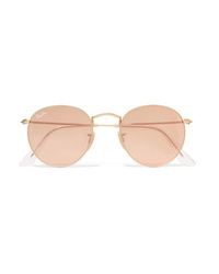 Ray-Ban Round Frame Gold Tone Mirrored Sunglasses