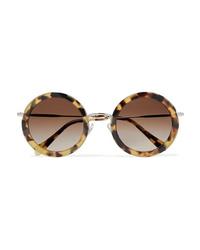 Miu Miu Round Frame Tortoiseshell Acetate And Silver Tone Sunglasses